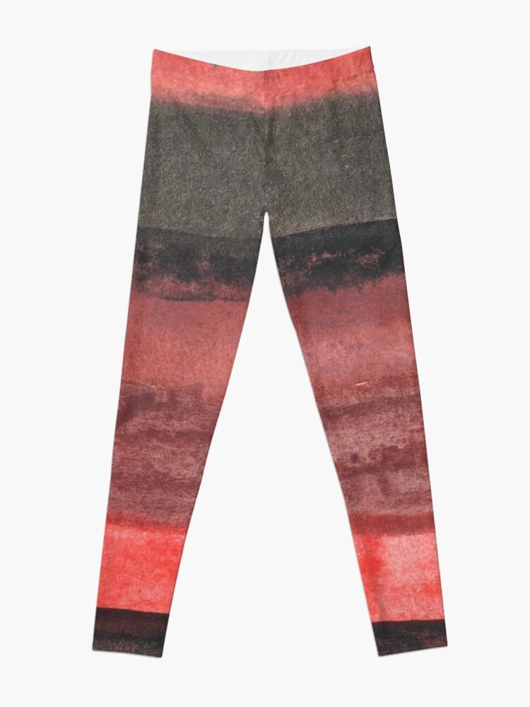 Alternate view of Vertical Red and Black Stripe Watercolor Painting Leggings