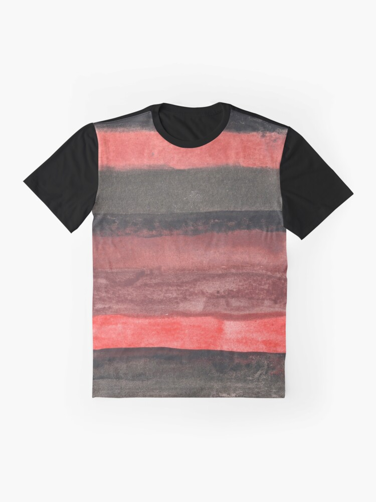 Alternate view of Horizontal Red and Black striped watercolor painting Graphic T-Shirt