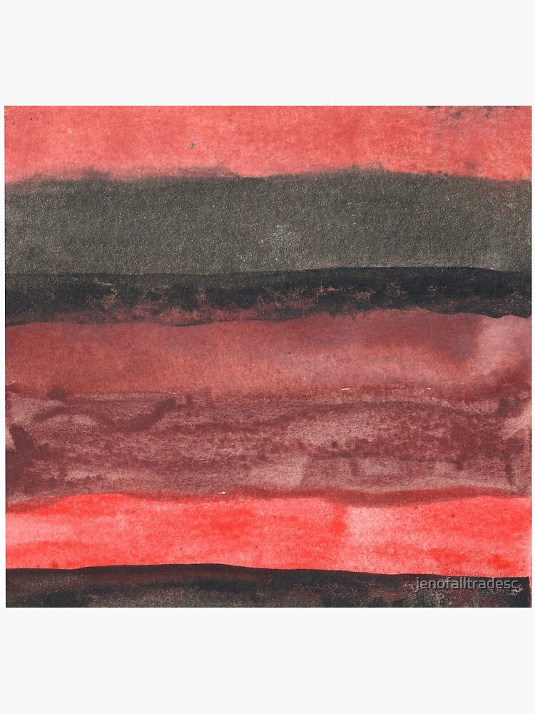 Horizontal Red and Black striped watercolor painting by jenofalltradesc