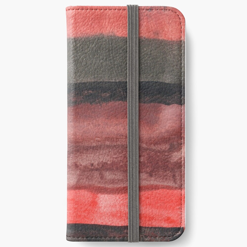 Horizontal Red and Black striped watercolor painting iPhone Wallet