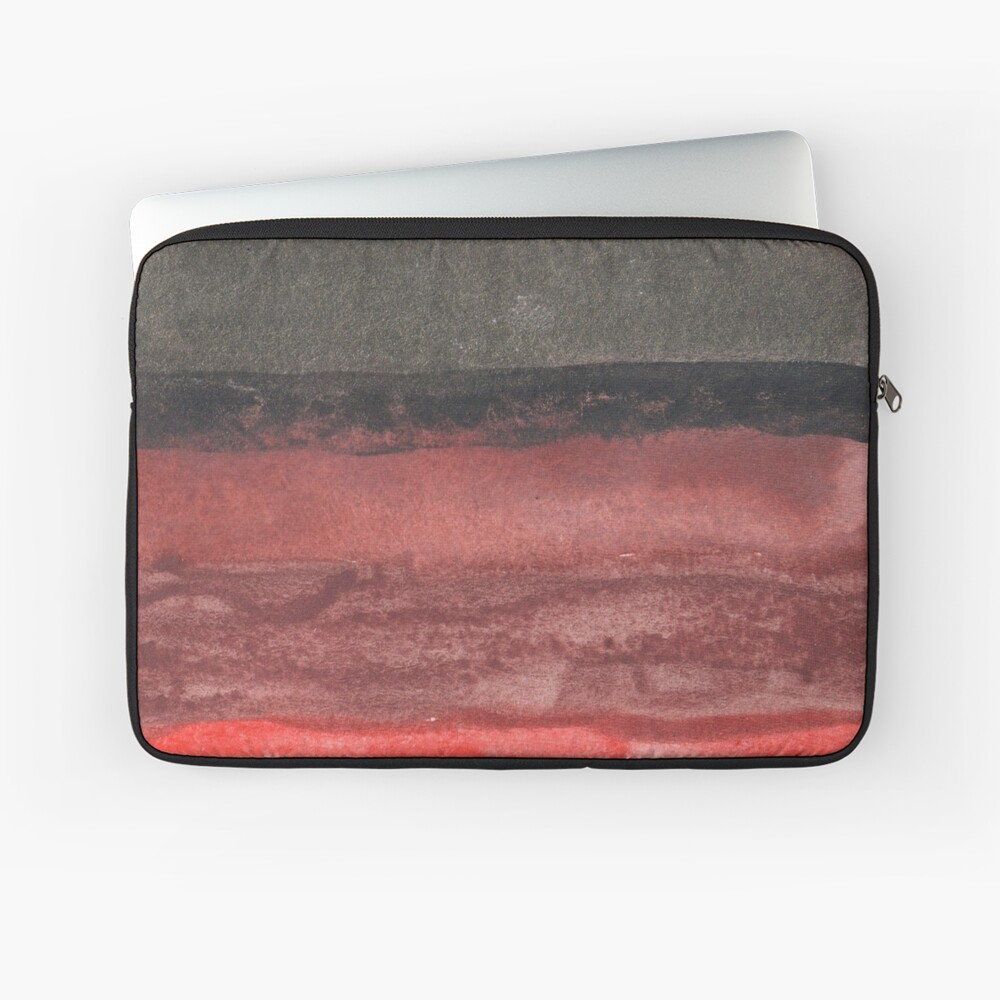 Horizontal Red and Black striped watercolor painting Laptop Sleeve
