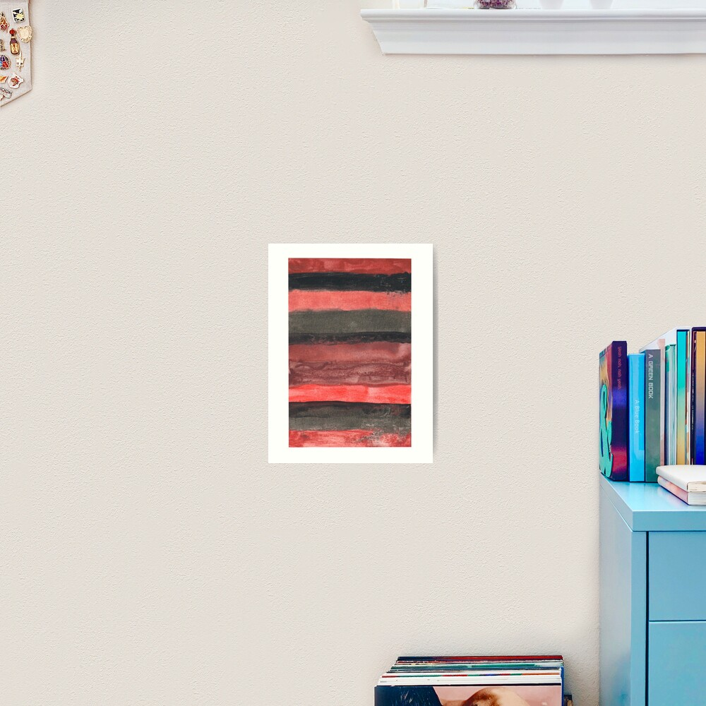 Horizontal Red and Black striped watercolor painting Art Print