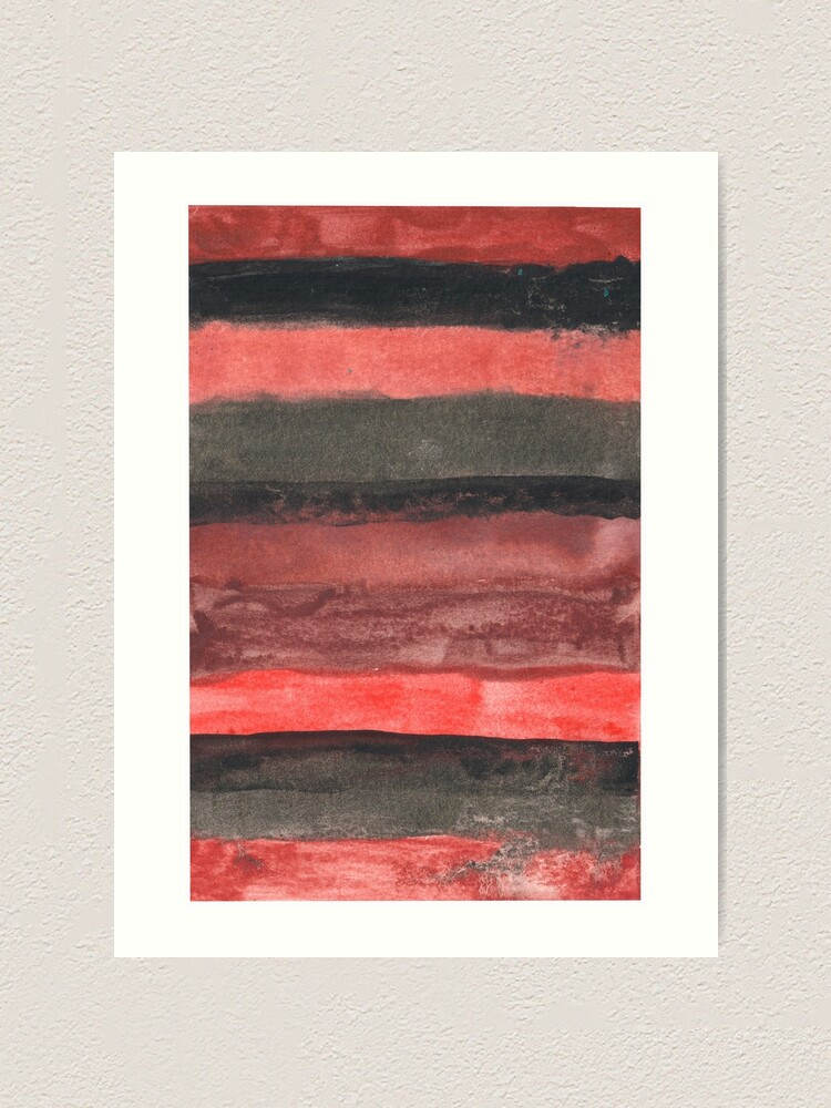 Alternate view of Horizontal Red and Black striped watercolor painting Art Print
