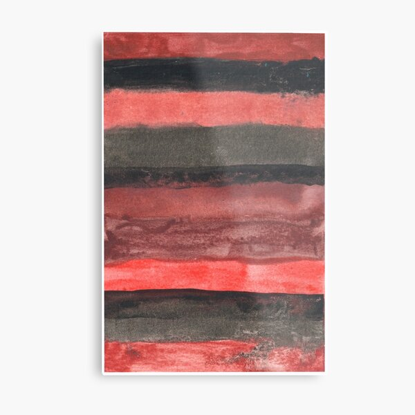 Horizontal Red and Black striped watercolor painting Metal Print