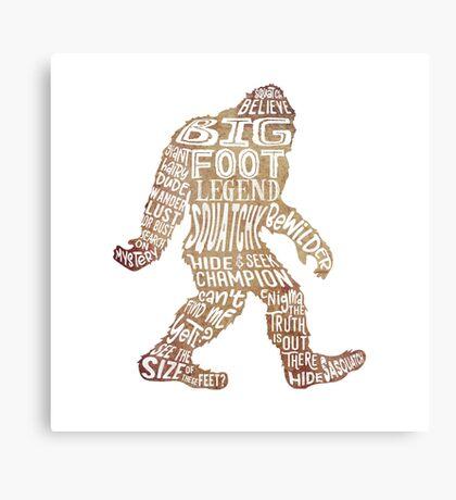 Funny Bigfoot, Sasquatch Silhouette Words in Brown Metal Print