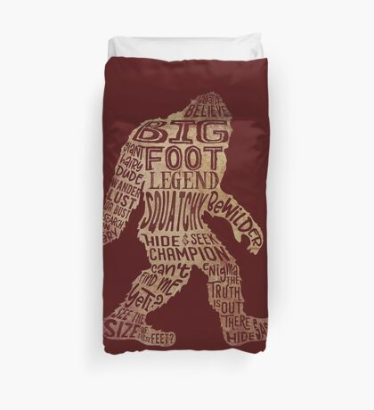Funny Bigfoot, Sasquatch Silhouette Words in Brown Duvet Cover