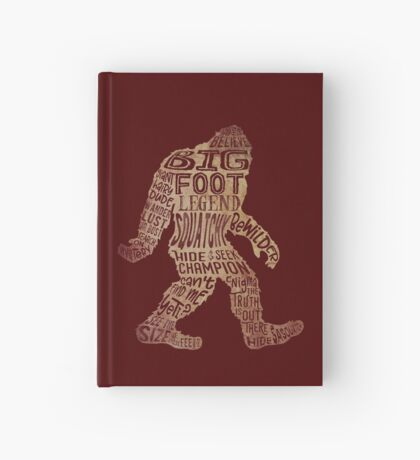 Funny Bigfoot, Sasquatch Silhouette Words in Brown Hardcover Journal