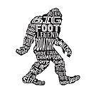 Funny Bigfoot, Sasquatch Silhouette Words in Black by jitterfly