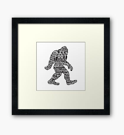 Funny Bigfoot, Sasquatch Silhouette Words in Black Framed Print