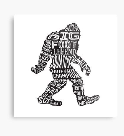 Funny Bigfoot, Sasquatch Silhouette Words in Black Metal Print