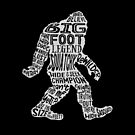 Funny Bigfoot, Sasquatch Silhouette Words in White by jitterfly