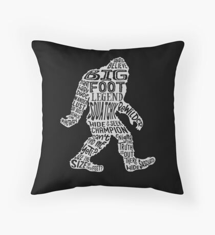 Funny Bigfoot, Sasquatch Silhouette Words in White Floor Pillow