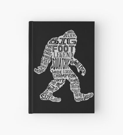 Funny Bigfoot, Sasquatch Silhouette Words in White Hardcover Journal