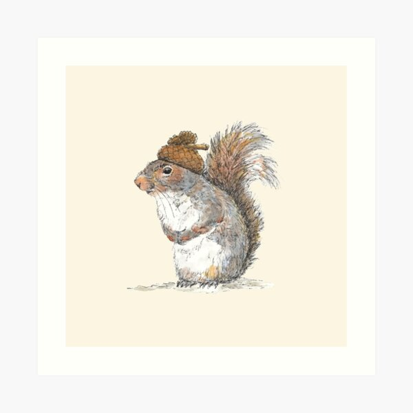 Squirrel with an Acorn Hat Art Print