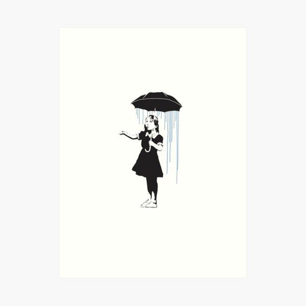 chica en lluvia por Banksy Lámina artística