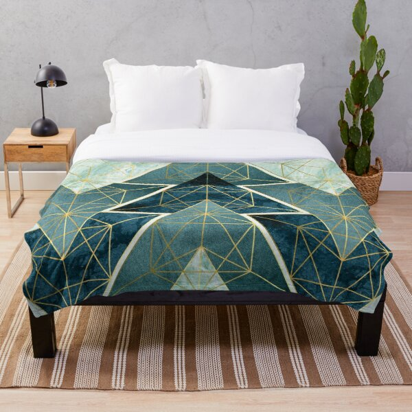 Geometric Excellence in Teal Throw Blanket