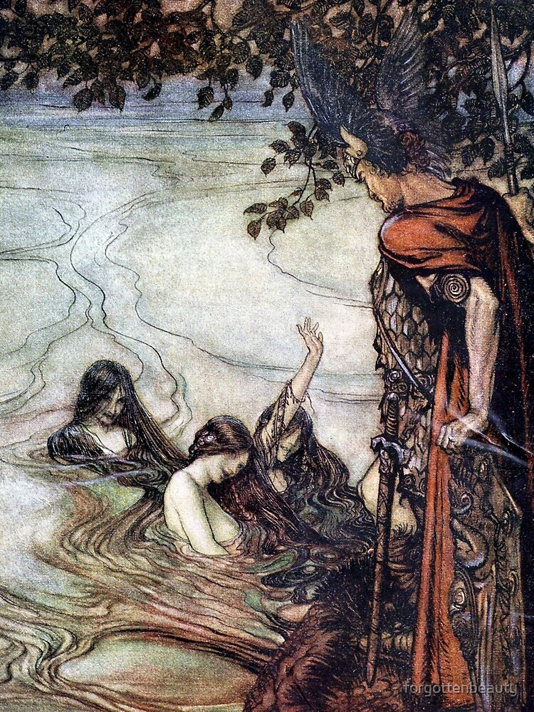 Siegfried and the Rhinemaidens - Siegfried and the Twilight of the Gods by Arthur Rackham by forgottenbeauty