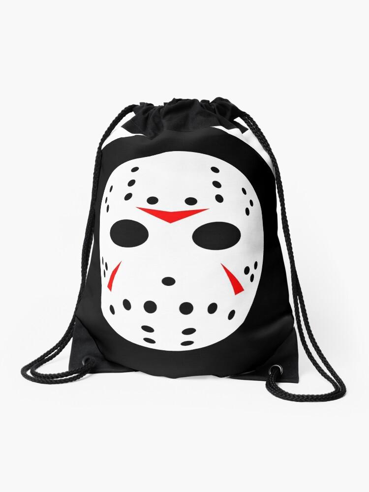 Halloween Jason Mask Cartoon.Halloween Hockey Mask Jason Friday 13th Ideology Drawstring Bag