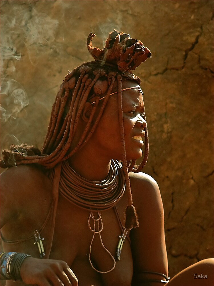 Red Himba Woman in the smoke by Saka