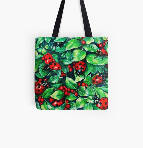 Ladybugs in the Hedge All Over Print Tote Bag