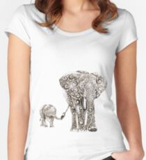 Swirly Elephant Family Women's Fitted Scoop T-Shirt