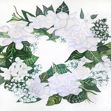 Gardenia & Stephanotis Victorian Wedding Wreath Print by Lallinda