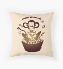 "Davenport Johnson ""Monkey Washing Cat"" T-shirt Throw Pillow"