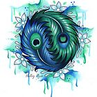 Yin Yang Peacock Feathers by Holley-Ryan