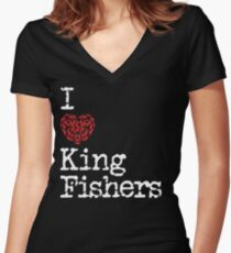 I Heart Kingfishers | Love Kingfisher Bird Breeds Women's Fitted V-Neck T-Shirt