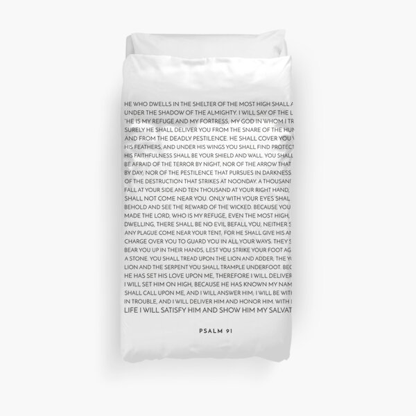 Psalm 91 - Bible Verse Duvet Cover