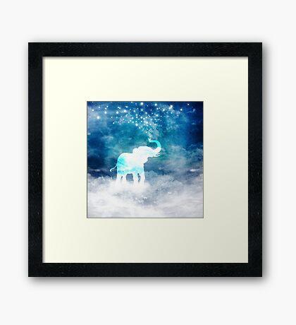 Magical Elephant Spouting Stars Framed Print
