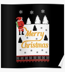 Ugly Christmas Santa Peeing in the Snow Yellow Snow Poster