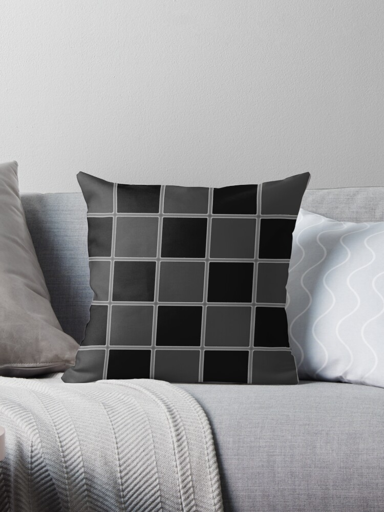 MONOCHROME BLACK AND GREY CHECKERBOARD  PATTERN by ozcushionstoo