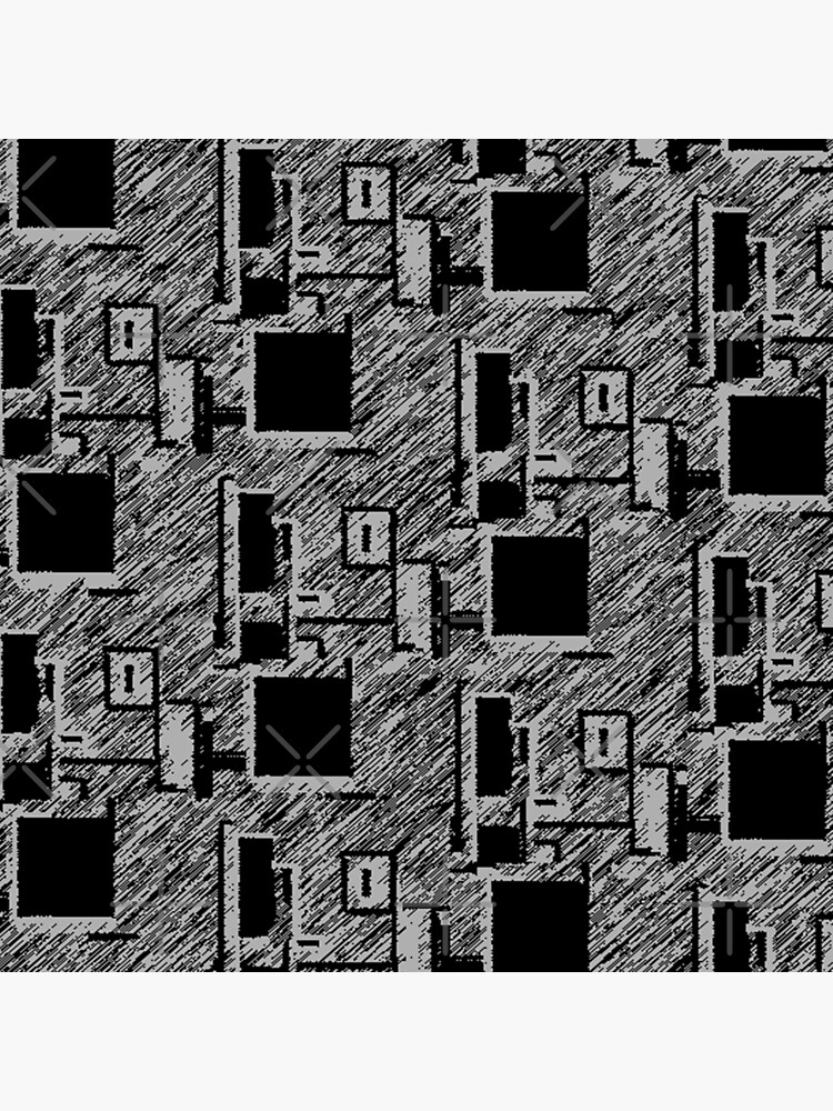 BLACK AND GREY QUIRKY DESKTOP COMPUTERS PATTERN  by ozcushionstoo