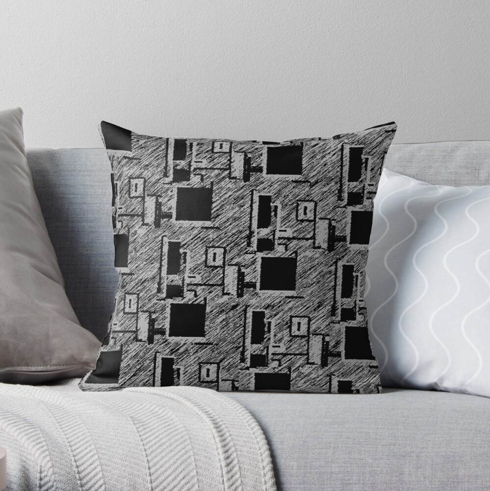 BLACK AND GREY QUIRKY DESKTOP COMPUTERS PATTERN  Throw Pillow