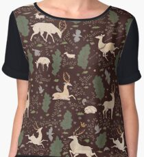 The Running of the Deer - Brown Chiffon Top