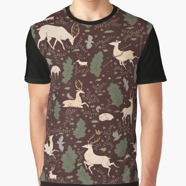 The Running of the Deer - Brown Graphic T-Shirt