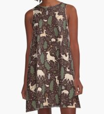 The Running of the Deer - Brown A-Line Dress