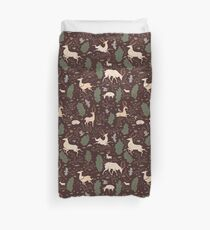 The Running of the Deer - Brown Duvet Cover