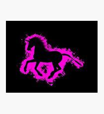 Unicorn fantasy pink and black silhouette Photographic Print