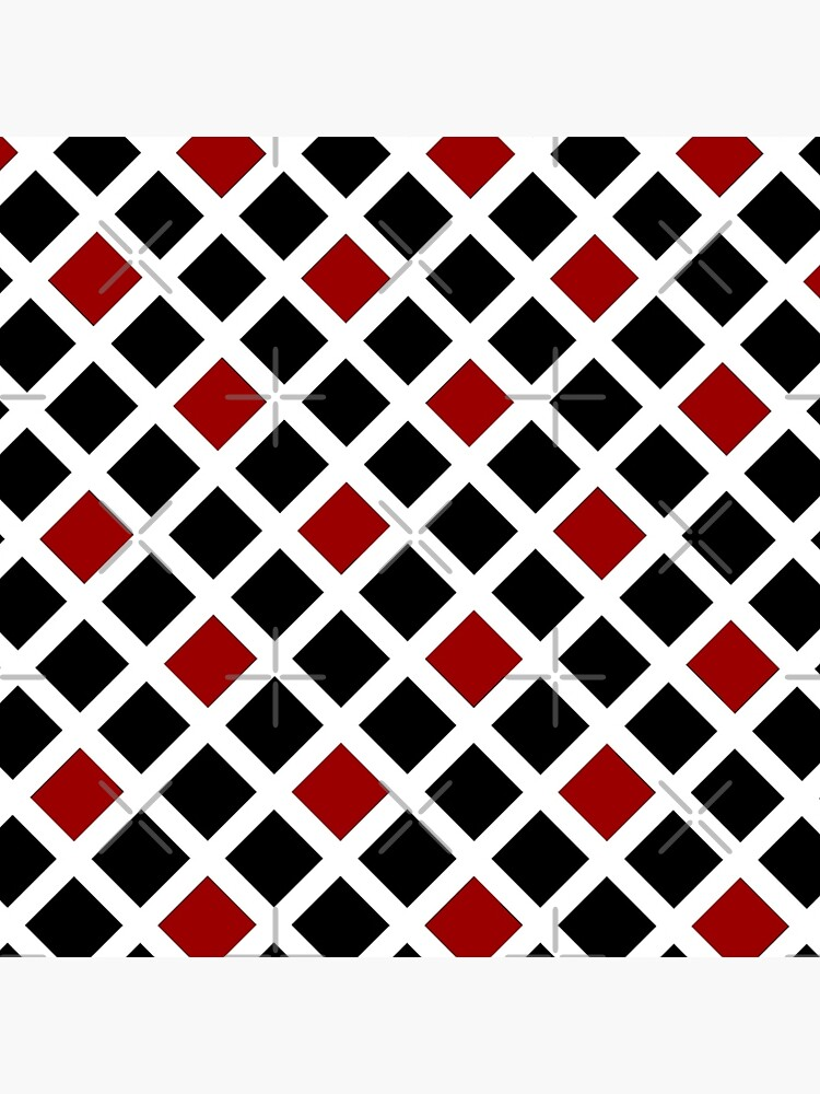 BLACK AND RED AND WHITE DIAMOND PATTERN CHECK FOR QUIRKY HOME DECOR AND FUN CLOTHING by ozcushionstoo