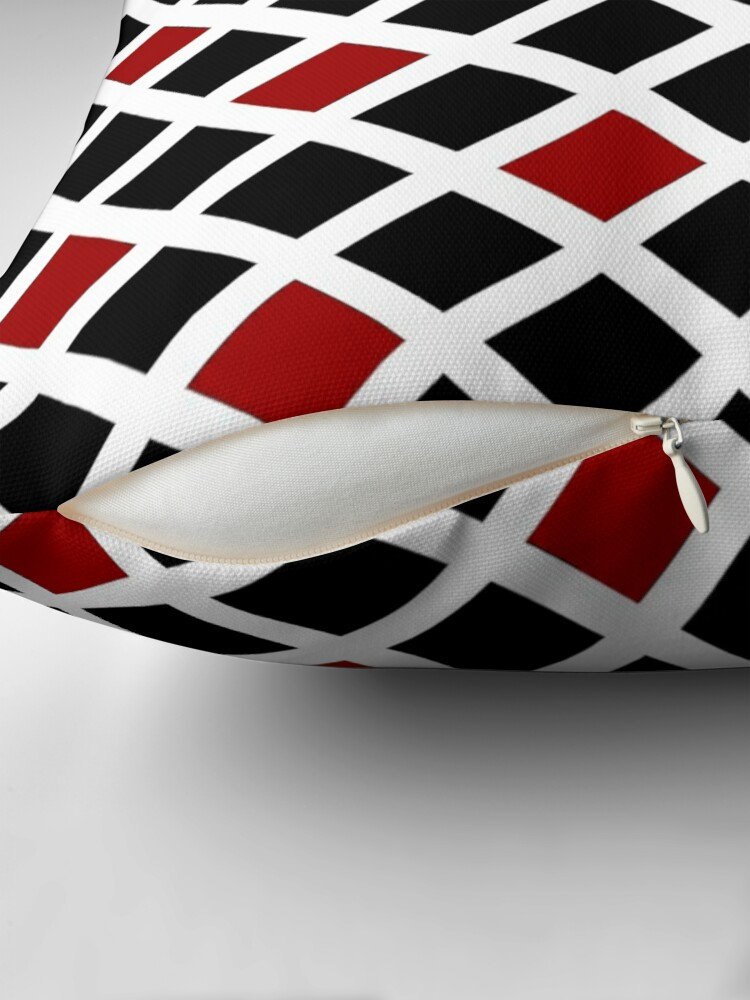 Alternate view of BLACK AND RED AND WHITE DIAMOND PATTERN CHECK FOR QUIRKY HOME DECOR AND FUN CLOTHING Throw Pillow