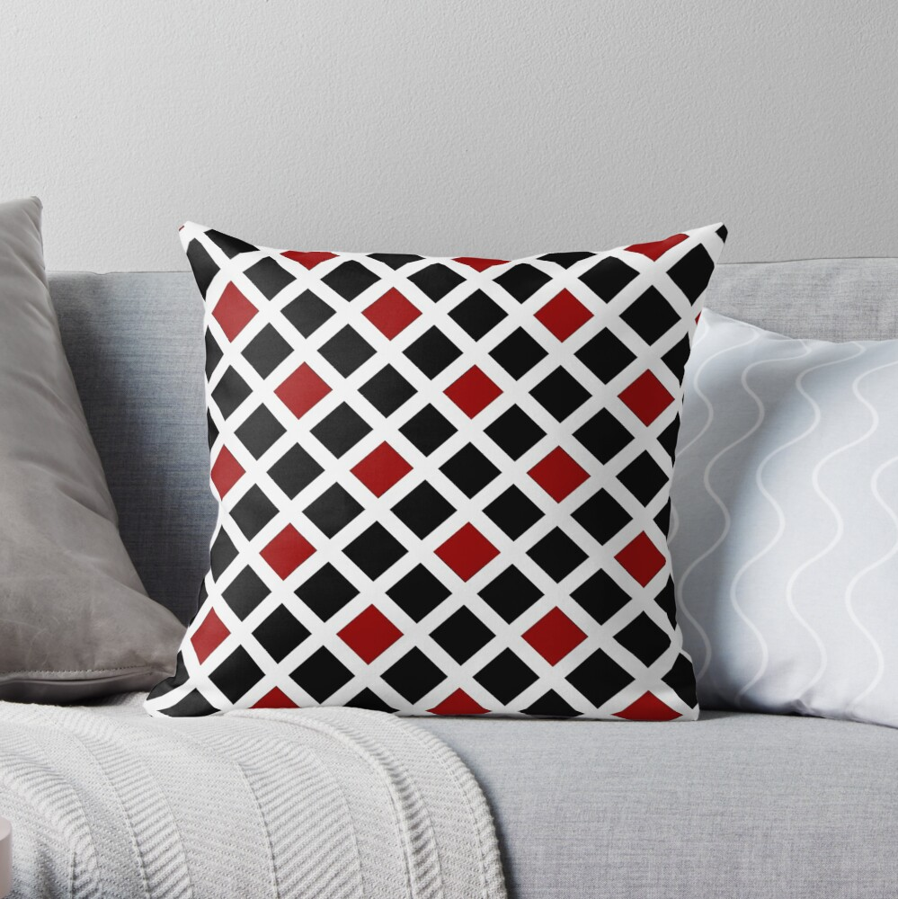 BLACK AND RED AND WHITE DIAMOND PATTERN CHECK FOR QUIRKY HOME DECOR AND FUN CLOTHING Throw Pillow