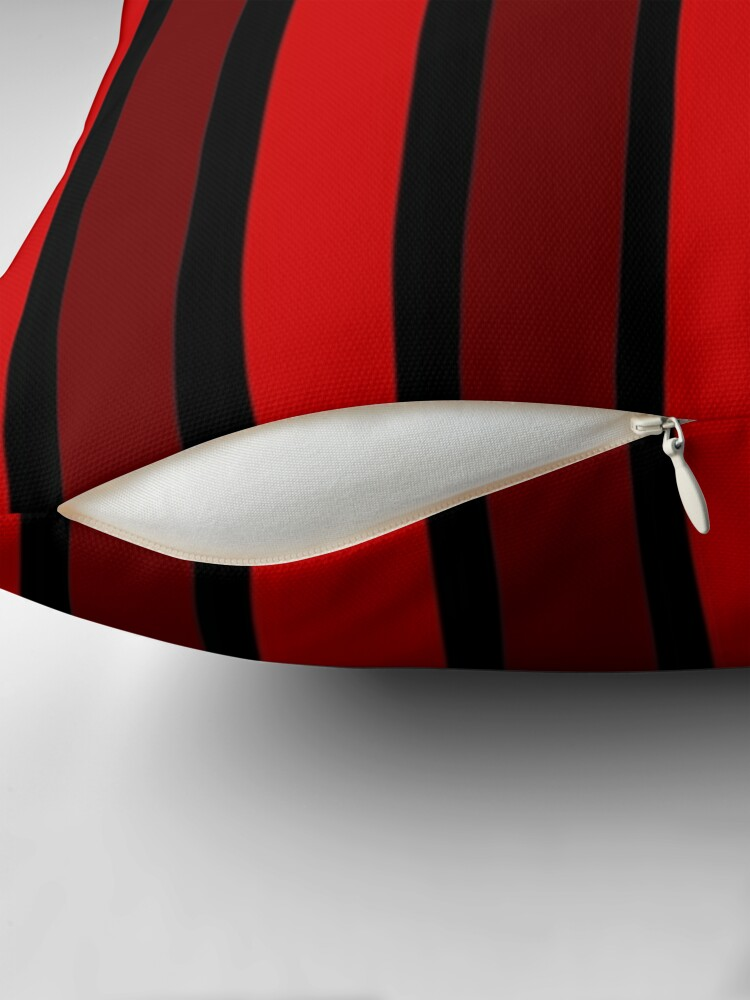 Alternate view of BLACK AND DOUBLE RED THICK STRIPES FOR VIBRANT HOME DECOR AND EYE CATCHING CLOTHING Throw Pillow