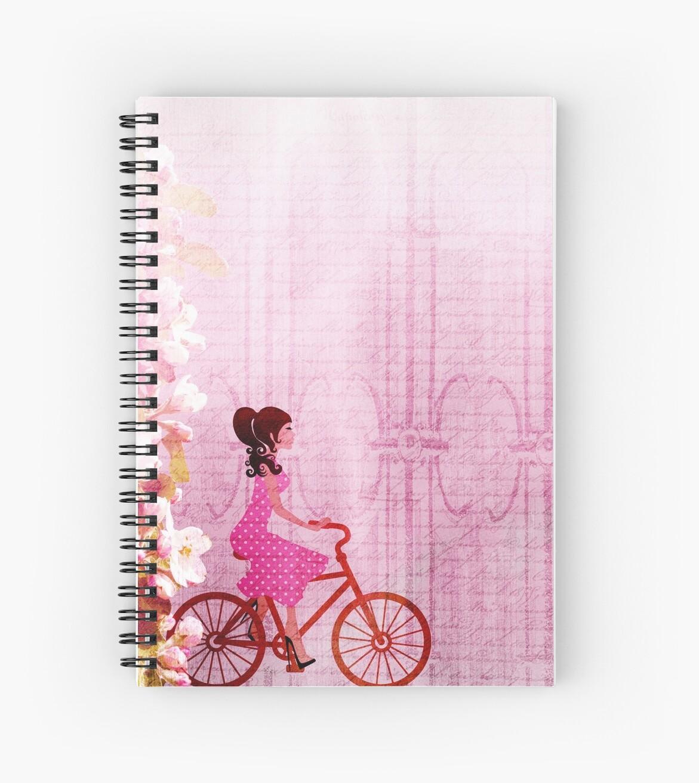 Girl Bike Pink Beautiful Art School Notebook for Daughter by vicekingwear