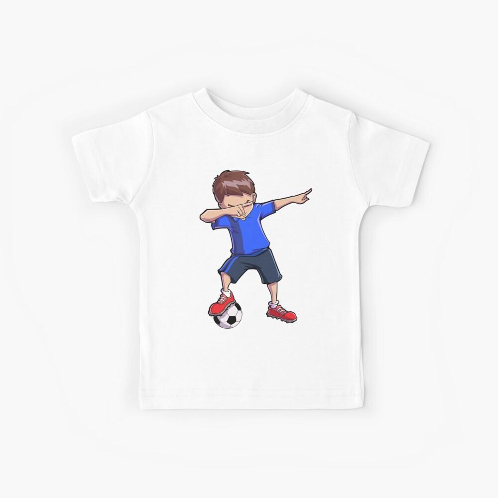 Abtupfendes Fußball-T-Shirt für Jungen tupfen Tanz-lustiges Fußball-T-Stück Kinder T-Shirt