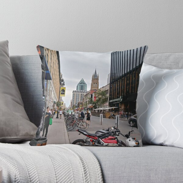 Montreal, #Montreal #City, #MontrealCity, #Canada, #buildings, #streets, #views, #people, #tourists, #pedestrians, #architecture, #flowers, #monuments, #sculptures, #Cathedral, #Commercial #building Throw Pillow
