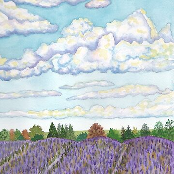 Lavender Fields Watercolor Print by Lallinda