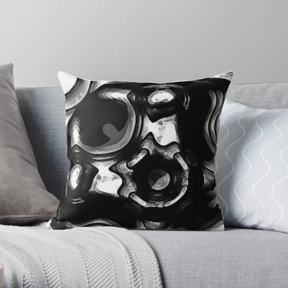 BLACK AND AND GREY AND SILVER METAL TIKI FACE ON MOLTEN STEEL DESIGN FOR INDUSTRAIL SPACES AND CLOTHING Throw Pillow