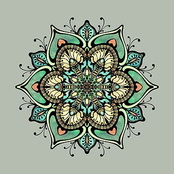 Summer time green mandala  by kanvisstyle